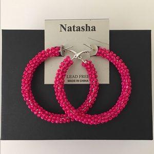 Tropical Pink Beaded Hoop Earrings